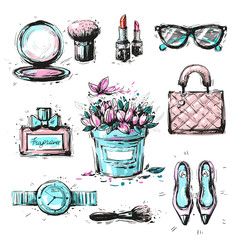 Collection set of sketchy fashion stylish elements accessories