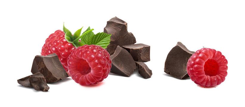 Raspberry broken chocolate isolated on white background