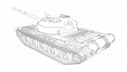 Tank vector illustration EPS 10. Military machine in the contour lines on graph paper. The contours of the black line on the white background.