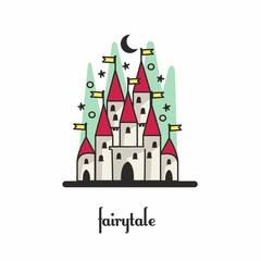 Fairy-tale castle. Vector illustration. Mudity style.