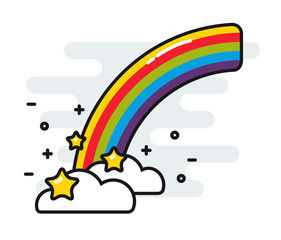 Rainbow with stars and clouds cute black outline vector style isolated