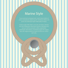 Sea Frame with a Rope on a Striped Wall, Text Marine Style, Poster Brochure Flyer Design, Vector Illustration