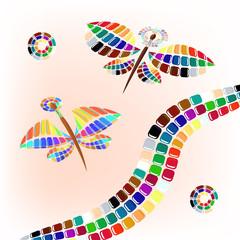цветовая палитра в форме бабочек на светлом фоне, векторная иллюстрация