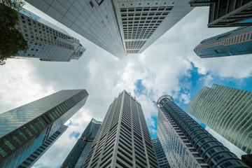 Foto op Canvas Aan het plafond Singapore skyline building