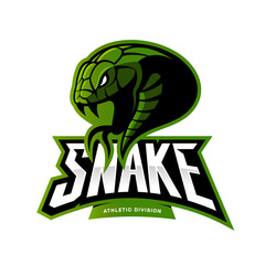 Furious green snake sport vector logo concept isolated on white background. Modern professional team badge design.