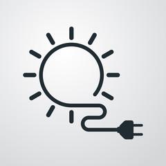 Icono plano energia solar en fondo degradado