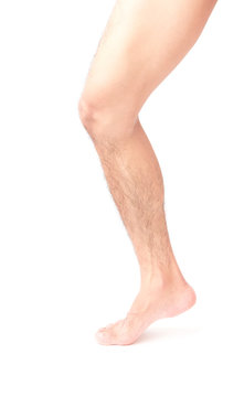 Closeup leg men skin and hairy with white background, health care and medical concept