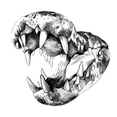 open the jaws of a crocodile with big teeth close up, sketch vector graphics black and white drawing