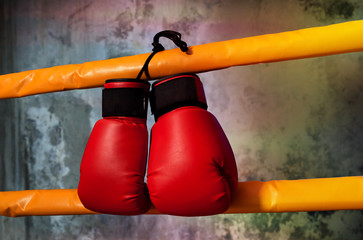 Red boxing gloves hangs off the boxing ring