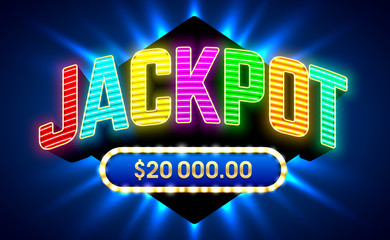 Jackpot gambling game bright banner with winning. Neon glow inscription.