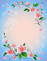 Blooming cherry branch on a blue background