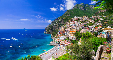 Poster Coast Beautiful coastal towns of Italy - scenic Positano in Amalfi coast