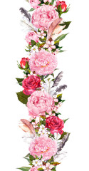 Floral border with pink peony flowers, cherry blossom, bird feathers. Vintage seamless stripe in boho style. Watercolor