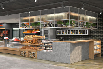 3D visualization of the interior of the grocery store. Design in loft style.