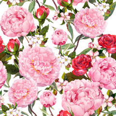 Peony flowers, red roses and sakura. Seamless floral background. Watercolor