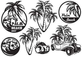 A set of monochrome templates with different palm, waves, coconut and a car. Vector illustration