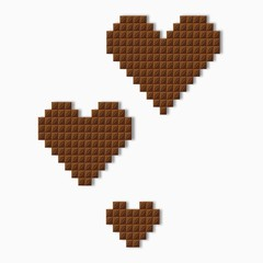 Symbol of the heart of chocolate confectionery tiles vector isolated