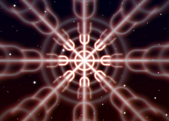 Magic ginnir symbol spreads the shiny mystic energy in spiritual space