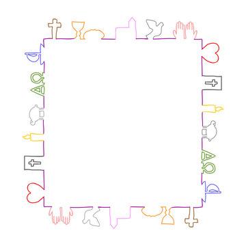 Quadratischer Rahmen aus bunten christlichen Symbolen