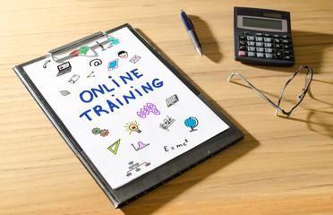 Online training concept on a desk