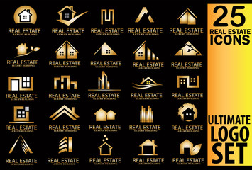 Real estate gold logo set