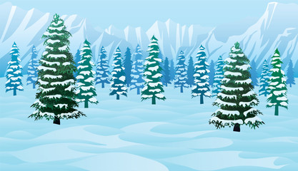 Horizontal seamless background with winter landscape
