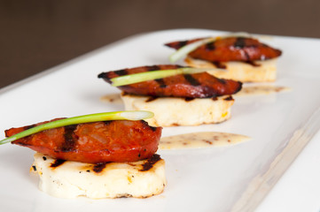 Halloumi cheese and grilled meat starter on white plate