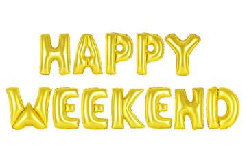 happy weekend in english alphabet from yellow (Golden) balloons