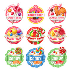 set of lollipop, candy logos, stickers, made in a realistic style