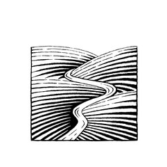 Vectorized Ink Sketch of Hills and River