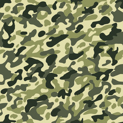Camouflage seamless pattern. Hunting or soldier camo repeat cloth vector texture with dark brown and green khaki colors