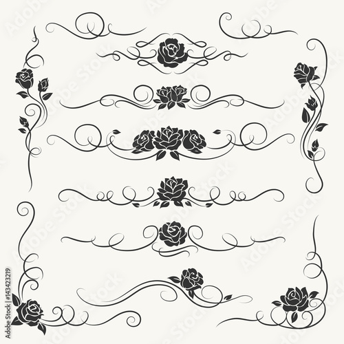 Flourish roses ornament vector illustration ornamental rose flourish roses ornament vector illustration ornamental rose flowers and vines decorative ornaments for floral wedding junglespirit Image collections