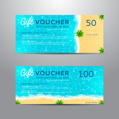 Set of summer gift vouchers. Unusual design of coupon usable for invitation, gift card and certificate. Vector illustration with sea shore and palm trees.