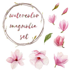Watercolor magnolia set. Spring hand drawn elements for your design. Flowers,buds,wreath and leaf of blossoms magnolia tree.