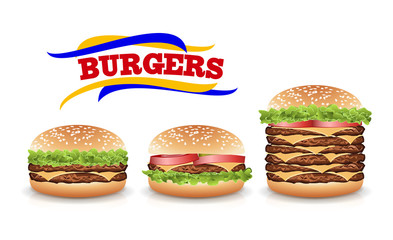 Fast Food Realistic Burger Vector. Set Hamburger Fast Food Sandwich Emblem Realistic Isolated On White Background Illustration