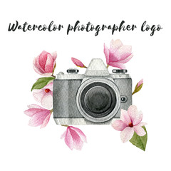Watercolor photographer logo with vintage photo camera and magnolia flowers. Hand drawn spring illustration isolated on white background.