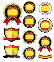 Made in Spain Seal, Spanish Flag (Vector Art)