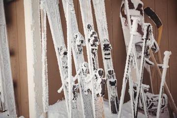 Close-up of skis and ski pole