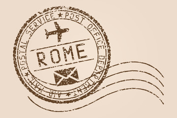 Rome mail stamp. Old faded retro styled impress. Vector illustration
