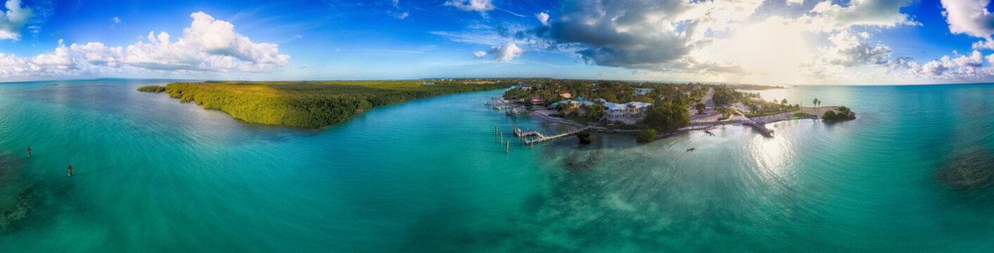 Aerial panorama of Marathon Key in Florida