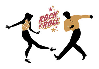 Fototapete - Young couple wearing 50's clothes dancing rock and roll. Vector Illustration