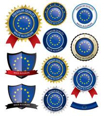Made in EU Seal, European Flag (Vector Art)