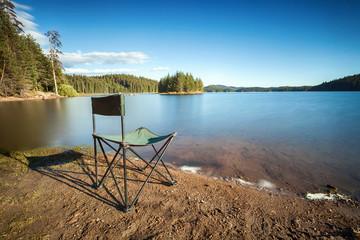 Fishing seat by a lake