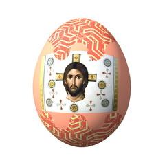пасхальное яйцо оформленное русскими народными орнаментами и иконой на белом фоне