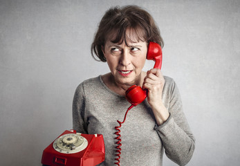 Angry woman at the phone