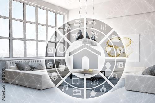 smart home steuerung im wohnzimmer stockfotos und. Black Bedroom Furniture Sets. Home Design Ideas