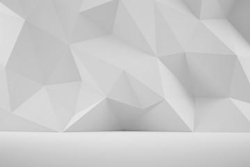 Ściana 3D ściana z geometrycznymi kształtami w odcieniach bieli