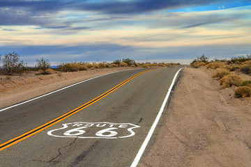 Poster Route 66 Route 66 Desert Road with painted ground sign