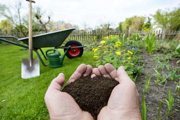 Kompost - Naturdünger in der Hand - Gartenarbeit