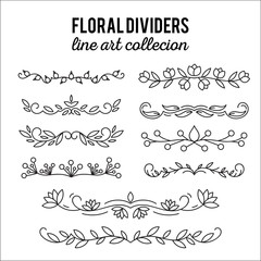 Flourishes. Dividers set. Line style decoration. Ornamental decorative elements. Vector ornate elements design.